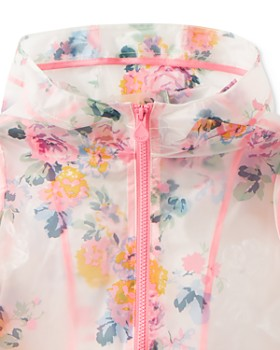 Joules - Girls' Raindance Clear Floral-Print Raincoat - Little Kid, Big Kid