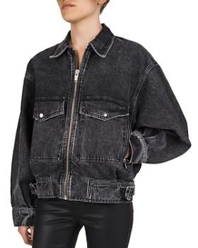 The Kooples - Marilyn Monroe Graphic Denim Jacket in Black Washed