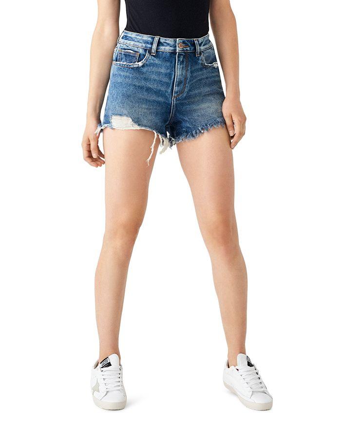 DL1961 - Cleo Distressed High-Rise Denim Shorts in Solana