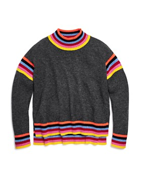 AQUA - Girls' Rainbow-Striped Cashmere Sweater, Big Kid - 100% Exclusive