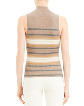 Theory - Sleeveless Striped Cashmere Turtleneck
