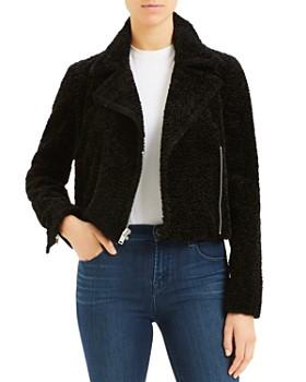 Theory - Faux Fur Zip Moto Jacket