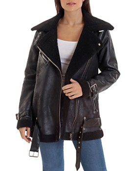 80112868 Women's Leather, Suede, and Shearling Coats - Bloomingdale's