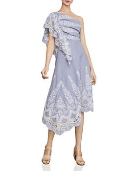 BCBGMAXAZRIA - One-Shoulder Embroidered-Stripe Midi Dress