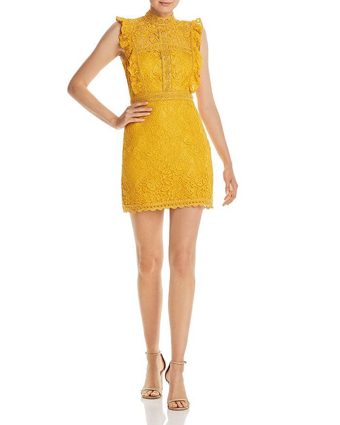 AQUA - Ruffled Lace Sheath Dress - 100% Exclusive