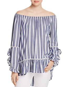 Single Thread - Striped Off-the-Shoulder Ruffle Top