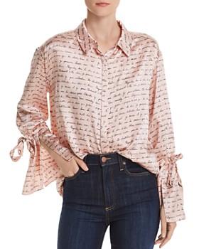 Cinq à Sept - Elisia French Text Bell-Sleeves Silk Shirt