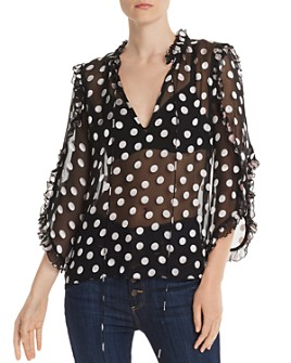Alice and Olivia - Julius Ruffled Polka Dot Tunic