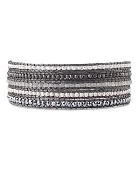 Chan Luu - Multi-Row & Stone Wrap Bracelet in 18K Gold-Plated Sterling Silver or Sterling Silver