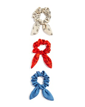 AQUA - Printed & Denim Bow Detail Scrunchies, Set of 3 - 100% Exclusive