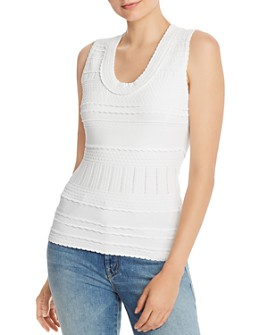 MILLY - Mixed-Knit Fitted Tank