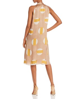 Theory - Scarf-Neck Printed Silk Dress