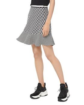 MICHAEL Michael Kors - Flounced Mixed Checkerboard-Print Skirt