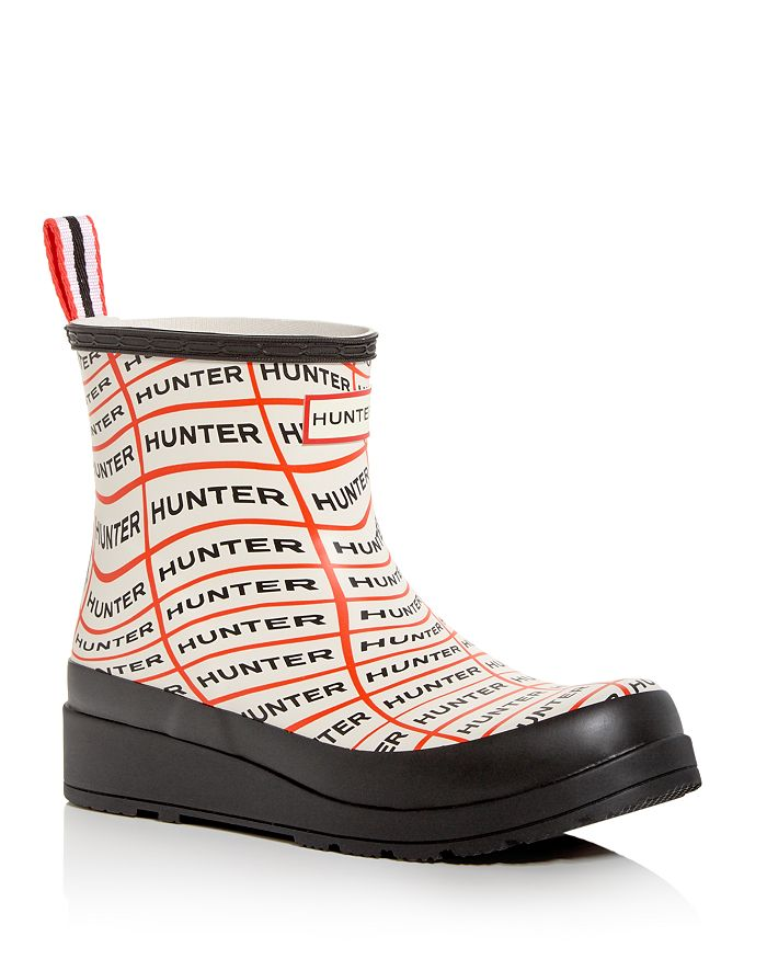 Hunter Women's Original Play Sonic Logo Wedge Rain Boots In Sonic Logo Print
