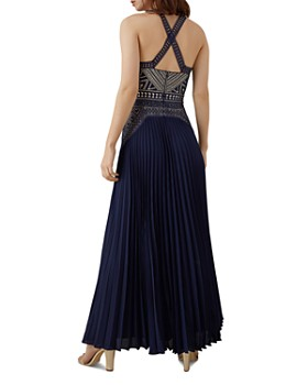 KAREN MILLEN - Lace-Bodice Pleated Gown