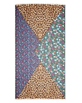 AQUA - Floral & Leopard Print Scarf - 100% Exclusive
