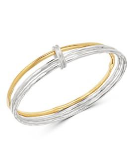 IPPOLITA - Sterling Silver & 18K Yellow Gold Chimera Mixed-Texture Bangle Set