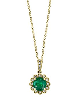 "Bloomingdale's - Emerald & Diamond Flower Pendant Necklace in 14K Yellow Gold, 18"" - 100% Exclusive"