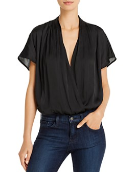 PAIGE - Dijon Pleated Faux-Wrap Bodysuit