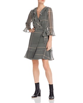 Marella - Tiro Flounced Plaid Wrap Dress