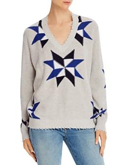 Minnie Rose - Pinwheel Distressed-Trim Sweater