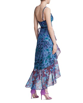MARCHESA NOTTE - Ruffled Color-Blocked Botanical Print Gown