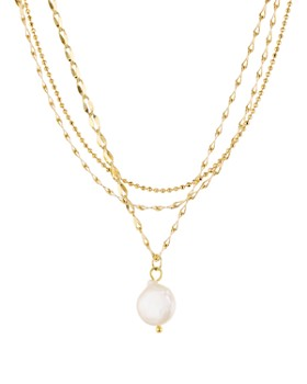 "Jules Smith - Layered Cultured Freshwater Pearl Pendant Necklace, 14""-16"""