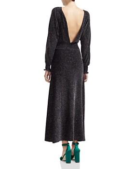 Maje - Rio Metallic V-Back Midi Dress