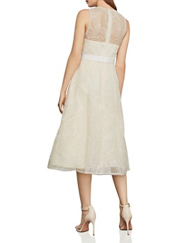 BCBGMAXAZRIA - Metallic Floral-Embroidered Fit-and-Flare Dress
