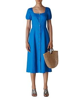 Whistles - Remi Linen Button-Front Midi Dress