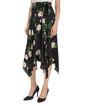 The Kooples - Floral-Print Tie-Detail Silk Midi Skirt