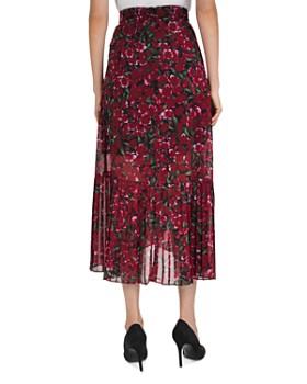 The Kooples - Pleated Floral-Print Midi Skirt