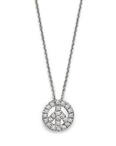 "Roberto Coin 18K White Gold and Diamond Peace Sign Necklace, 16"" - Bloomingdale's_0"