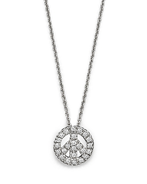 Roberto Coin 18K White Gold and Diamond Peace Sign Necklace, 16