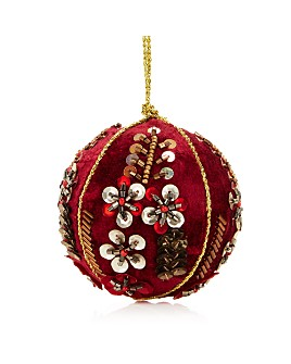 Shishi - Velvet Beaded Burgundy Ball Ornament