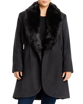 Calvin Klein Plus - Faux-Fur-Collar Coat