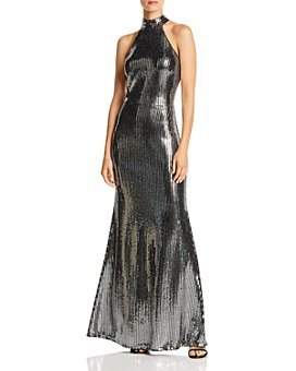 AQUA - Sequin Halter-Neck Gown - 100% Exclusive