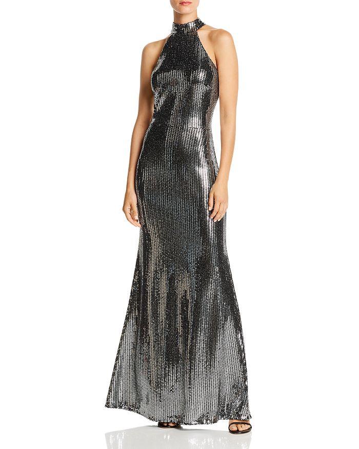 AQUA - Sequin Halter-Neck Gown - 100% Exclusive