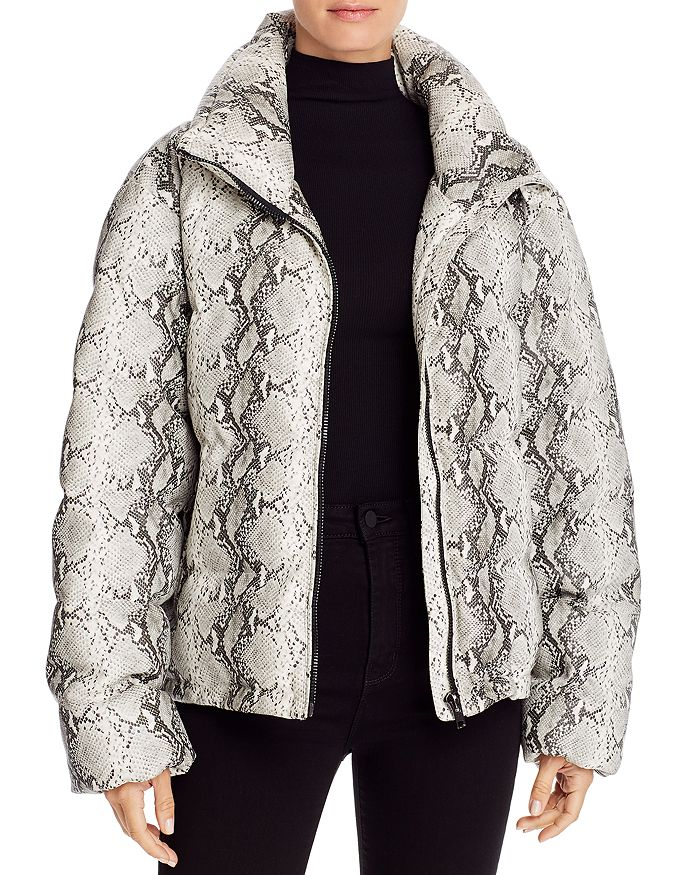 Glamorous - Snake Print Faux Leather Puffer Jacket