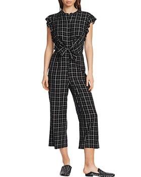 1.STATE - Tie-Front Plaid Jumpsuit