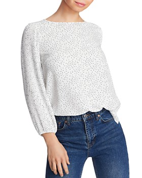 1.STATE - Pleated-Sleeve Pindot Blouse