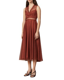 Sandro - Cassy Mesh Lace Midi Dress