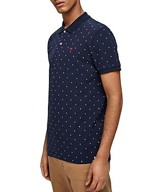 Scotch & Soda Diamond-Print Pique Regular Fit Polo Shirt