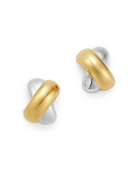 Bloomingdale's - Crossover Huggie Earrings in 14K Yellow & White Gold - 100% Exclusive