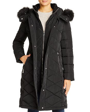 Calvin Klein - Diamond-Quilted Faux Fur-Trim Puffer Coat
