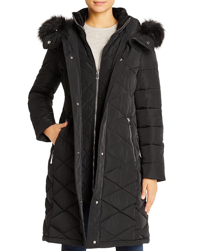 Calvin Klein - Diamond-Quilted Faux Fur-Trim Puffer Coat