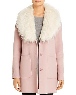 Hooded Faux Fur Trim Coat