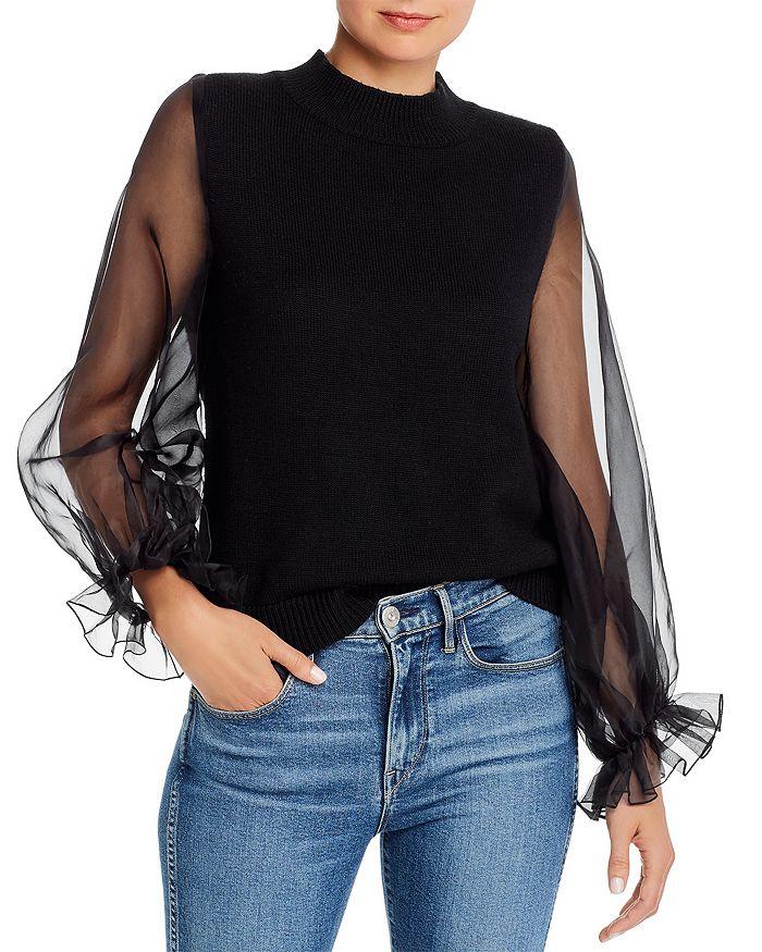Paper London - Julia Organza-Sleeve Sweater