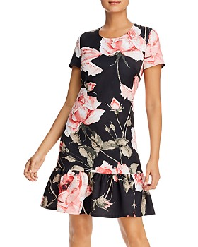 KARL LAGERFELD Paris - Floral-Print Flounce-Hem Dress