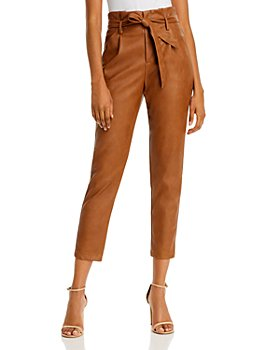 Lucy Paris - Faux Leather Paperbag-Waist Pants - 100% Exclusive